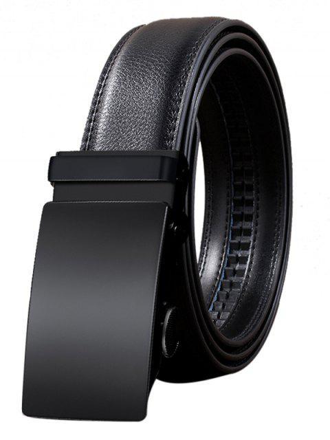 Cinturón Retro de Cuero de Imitación con Hebilla Automática - Negro 110CM Mobile