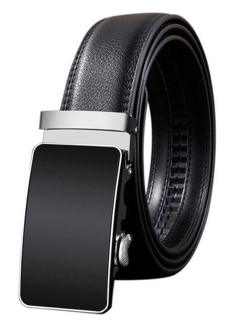 sale Metal Polished Buckle Decoration Faux Leather Belt - BLACK 110CM Mobile