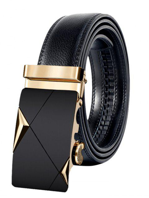 women Metal Buckle Faux Leather Automatic Buckle Wide Belt - GOLDEN 110CM Mobile