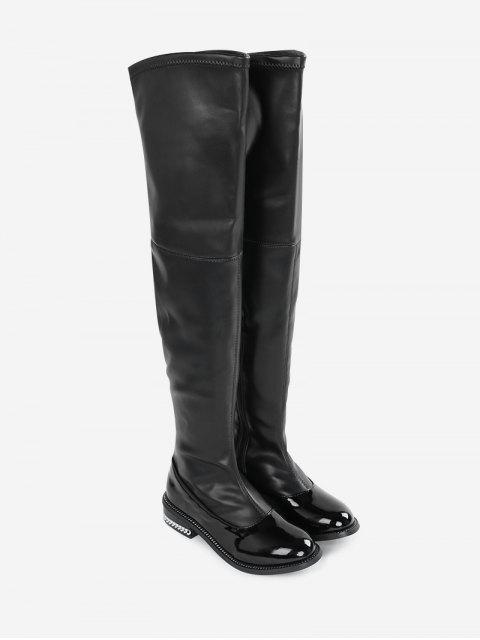 ladies Curb Chain Low Heel Over the Knee Boots - BLACK 36 Mobile
