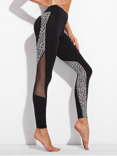 Leopard Mesh Panel Leggings - Schwarz XL  Mobile