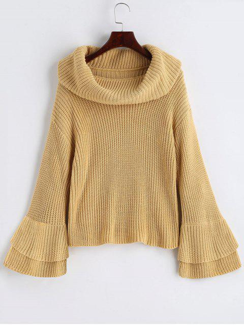ladies Flare Sleeve Cowl Neck Pullover Sweater - LIGHT CAMEL L Mobile
