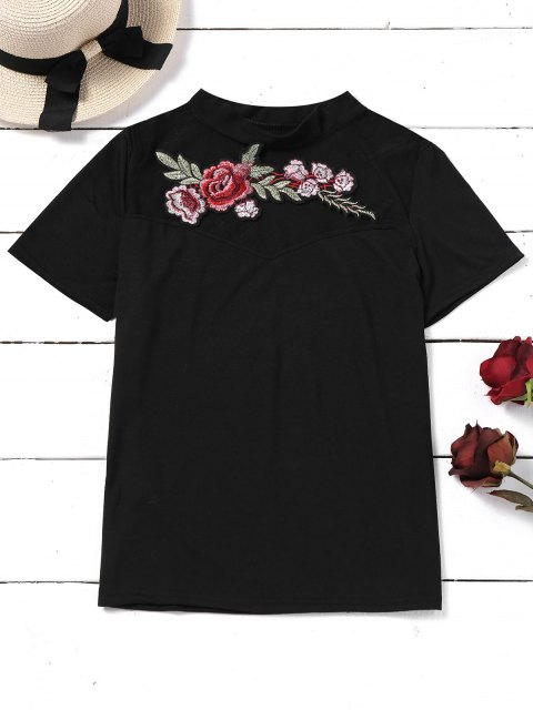 women's Embroidered Patches See Thru Panel Top - BLACK XL Mobile