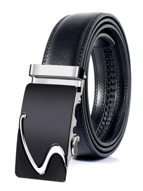 Cinturón de cuero artificial con hebilla automática de estilo profesional - Plata 130cm Mobile
