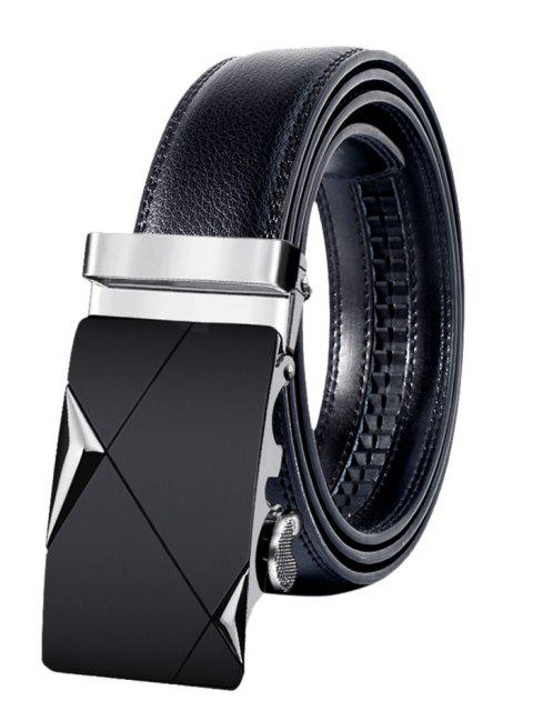 best Metal Buckle Faux Leather Automatic Buckle Wide Belt - SILVER 110CM Mobile