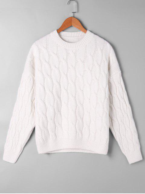 outfits Cable Knit Pattern Drop Shoulder Sweater - OFF-WHITE ONE SIZE Mobile