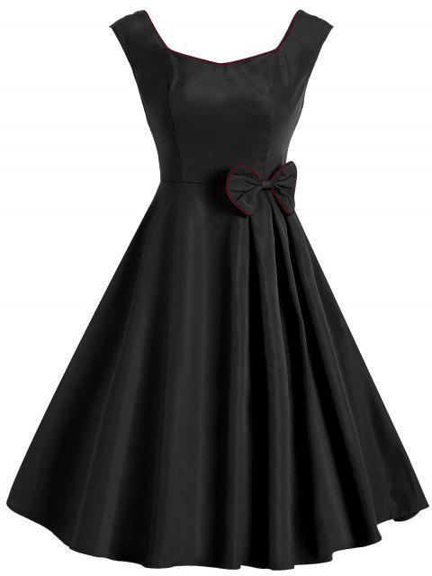 Schleife Ärmelloses Vintage Kleid - Schwarz XL  Mobile