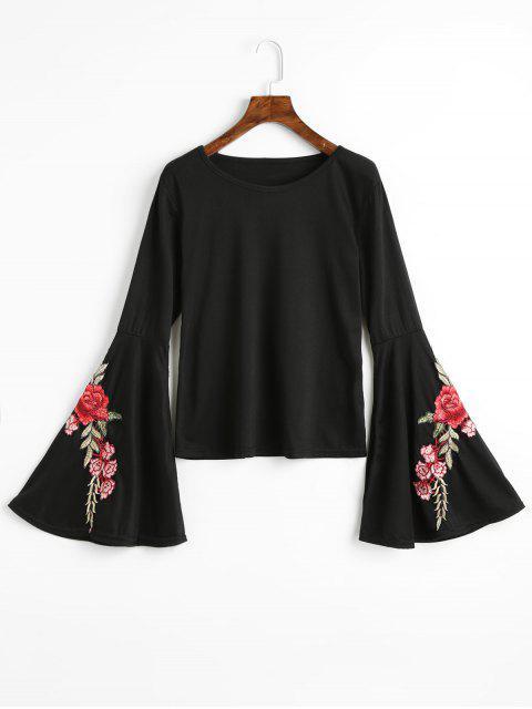 Camiseta estampada floral con manga corta - Negro XL Mobile