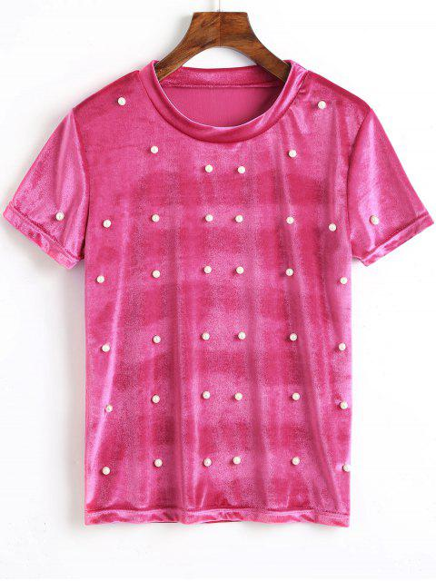 shop Velvet Faux Pearls Top - ROSE RED L Mobile