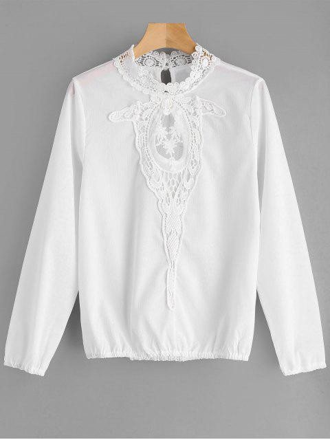 shop Lace and Mesh Panel Blouse - WHITE L Mobile