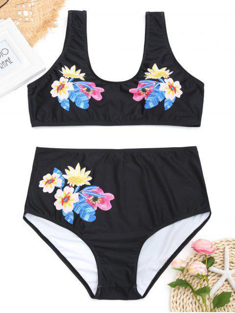 Bikini en Ensemble Floral de Taille Haute et Grande Taille - Noir XL Mobile