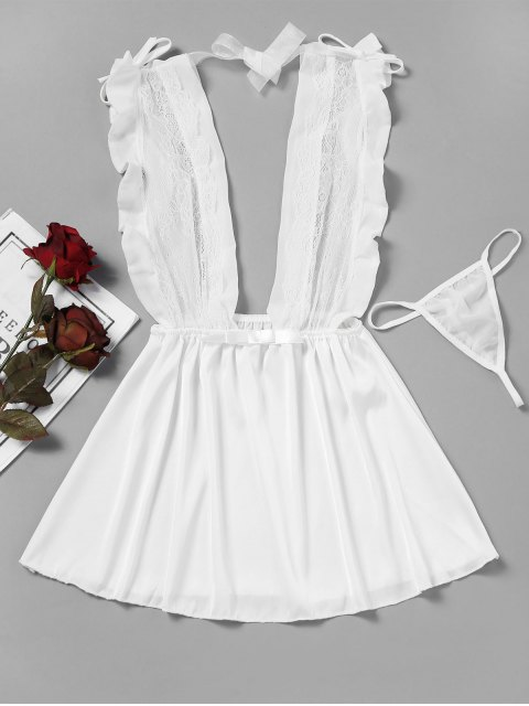 Lace Panel Sheer Babydoll - Blanco Única Talla Mobile