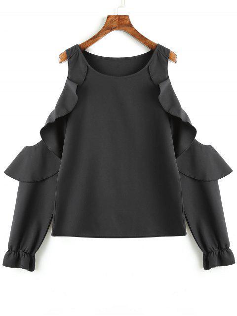 Blusa fruncida del hombro de las colmenas - Negro L Mobile