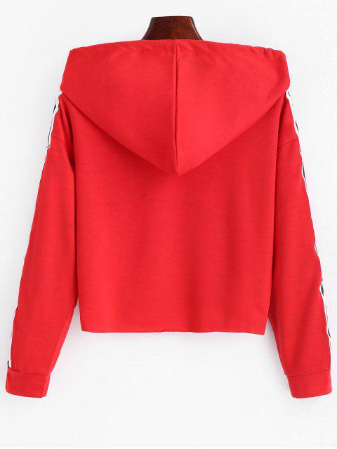 chic Striped Crop Hoodie - RED XL Mobile