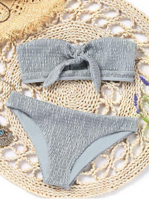 Conjunto de bikini palabra de honor deshilachado anudado - Gris M Mobile