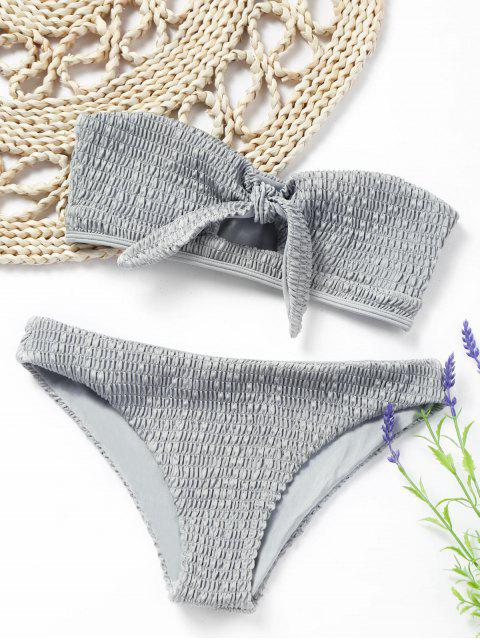 outfit Knotted Smocked Bandeau Bikini Set - GRAY XL Mobile