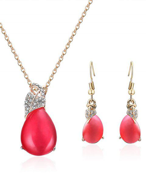buy Faux Crystal Heart Shape Embellished Jewelry Set -   Mobile