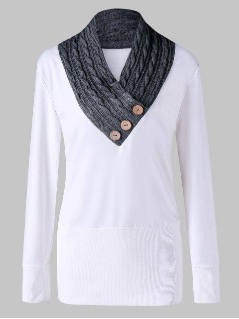 Sudadera de túnica con panel de tejido de punto y cuello grande - Blanco 3XL Mobile