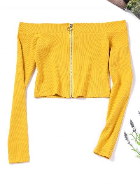 Zip Up Knitted Off Shoulder Top - Mostaza M Mobile