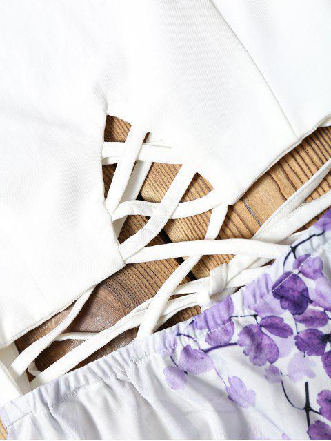 buy Criss Cross Backless Floral Flare Dress - FLORAL L Mobile
