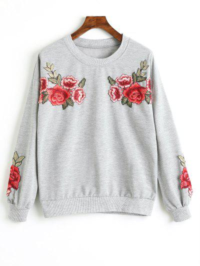 Zaful Drop Shoulder Floral Appliques Sweatshirt
