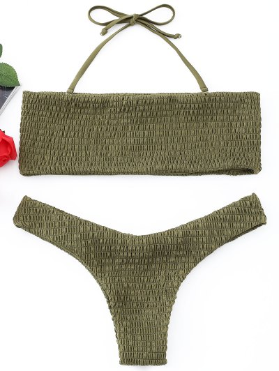 Smocked Bandeau Bikini Set - Army Green L
