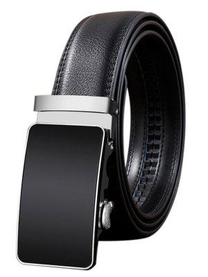 Metal Polished Buckle Decoration Faux Leather Belt