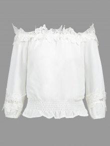 S Desgastado El Con Panel En Blusa Blanco Hombro Encaje De wnRq4aCz