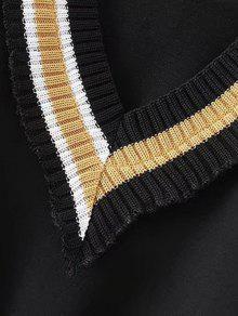 Sudadera Panel Punto De V L En De Cuello Negro Con aqwra1SH