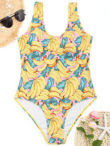 U Neck Banana Print Plus Size Roupas De Banho - Amarelo Xl