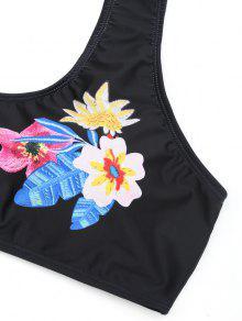 Floral Talle Con Estampado Bikini Negro Alto De 4xl x57gtwqX