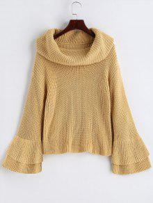 Flare Sleeve Cowl Neck Pullover Sweater - Camelo Claro L