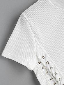 Xl Cordones Top Blanco Corto Recortado Con EXwqUw7