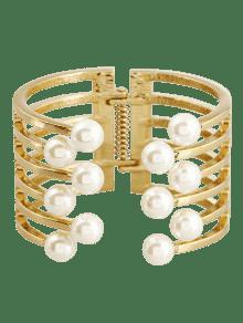 Alloy Faux Pearl Cuff Bracelet