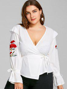 Floral Bordado Plus Size Wrap Top - Branco 5xl