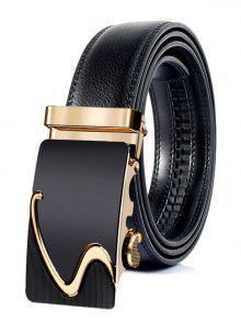 نمط الأعمال التلقائي مشبك حزام جلد الاصطناعي - ذهبي 120cm