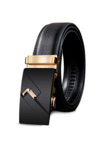 Metal Auto Buckle Decorado Faux Leathr Belt - Dourado 110cm