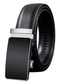 Metal Fivela De Fivela Polida Faux Leather Belt - Preto 110cm