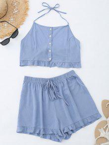 Blusa Con Botones Arriba Y Volantes Pantalones Cortos Con Cintura Alta - Azul Gris L