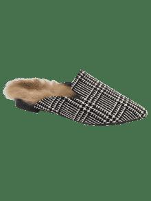 2018 houndstooth plaid muster spitz zehen wohnungen von schwarz wei 38 zaful. Black Bedroom Furniture Sets. Home Design Ideas