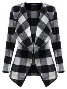 زائد الحجم الستارة منقوشة معطف - أسود أبيض Xl