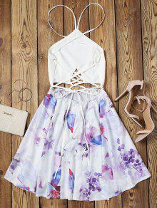 Vestido De M Criss Espalda Sin Con Vuelo Floral Floral Cross pxvrZwp