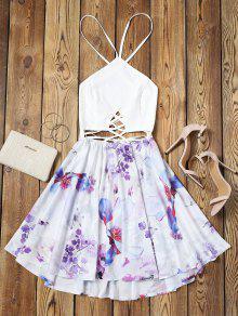 فستان توهج طباعة الأزهار عارية الظهر متقاطع - الأزهار L