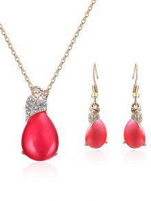 فو كريستال شكل قلب مزين مجوهرات مجموعة - أحمر
