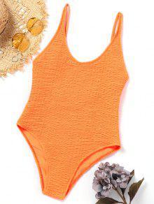 ارتفاع قطع مغرفة ملابس السباحة Smocked - البرتقالي M