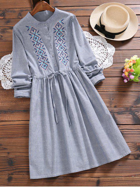 Gestickte Patch gestreifte A Line Kleid - Streifen  XL