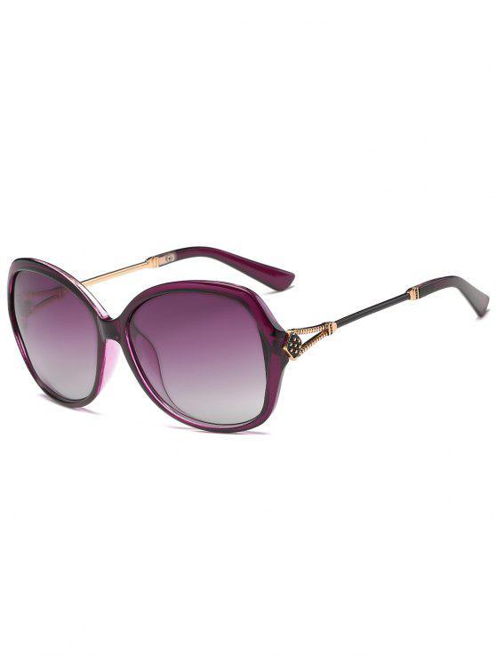 Anti-Fatigue Metall geschnitzte Full Frame übergroße Sonnenbrille - Lila