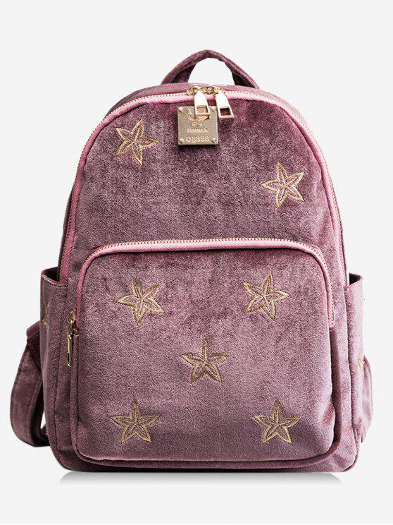 women's Stars Embroidery Side Pockets Backpack - PINK
