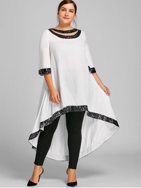 66d60643e81dd 29% OFF  2019 Plus Size Sequined Trim Dip Hem Dress In WHITE 5XL