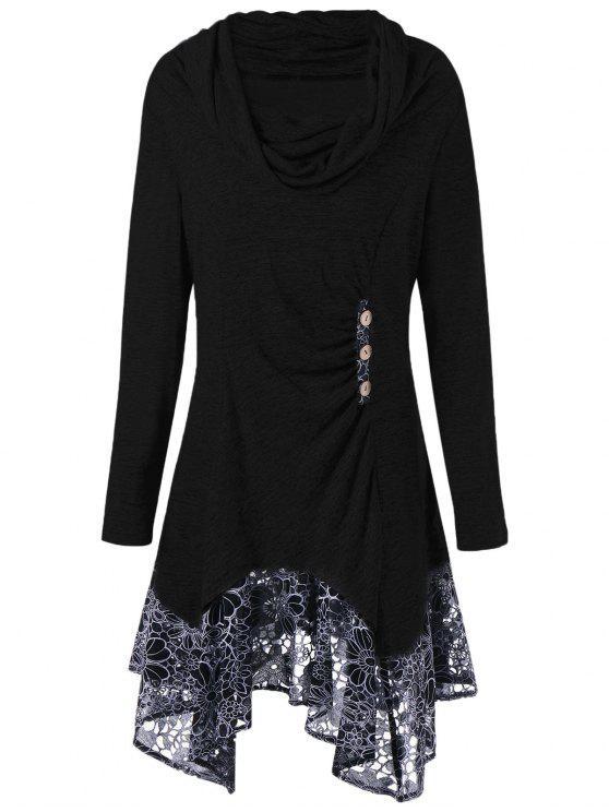 shop Plus Size Cowl Neck Floral Longline Top - BLACK 3XL